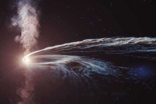 Vizualizácia čiernej diery, ktorá pohlcuje hviezdu. Z podobnej udalosti k zemi doputovala nepolapiteľná častica.