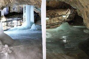 Demänovská ľadová jaskyňa, vľavo v roku 2017, vpravo v roku 2020.