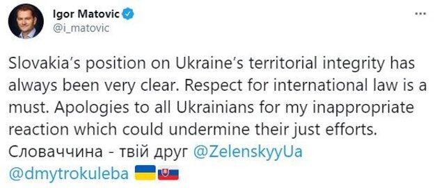 Matovič sa ospravedlňuje Ukrajine.