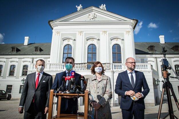 14. marec 2020. Po stretnutí prezidentky s lídrami politických strán budúcej vládnej štvorkoalície v Prezidentskom paláci.