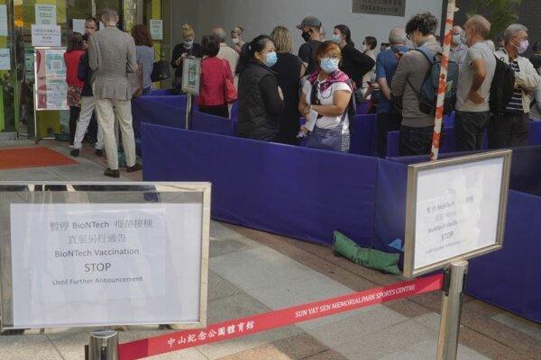 Vakcinančné centrum v Hongkongu.