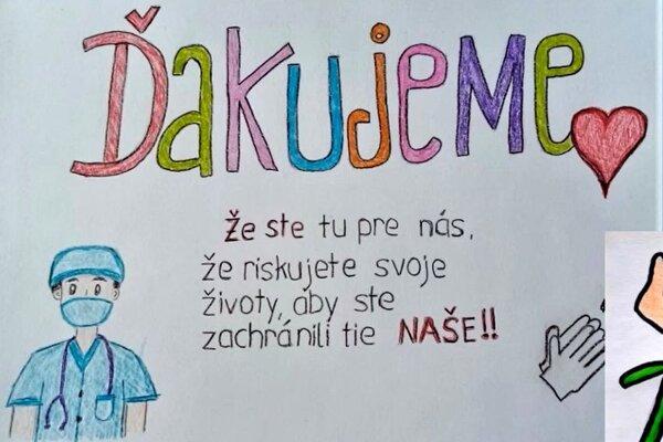 Kytica vďaky od dolnokubínskych detí zdravotníkom.