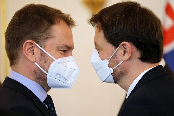 Podpredseda vlády a minister financií Igor Matovič a premiér Eduard Heger.