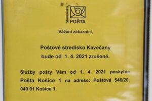 Pošta v Kavečanoch je zrušená od začiatku apríla.