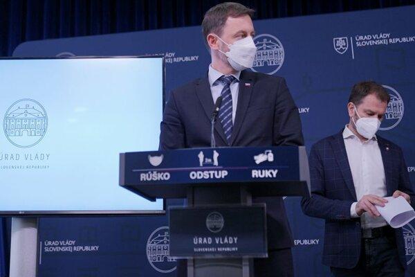 Predseda vlády SR Eduard Heger a podpredseda vlády a minister financií SR Igor Matovič.