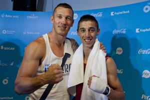 Tomás Kovácas (vľavo) priviedol svojho zverenca Viliama Tanka k tretiemu miestu na Európskych hrách v Baku.