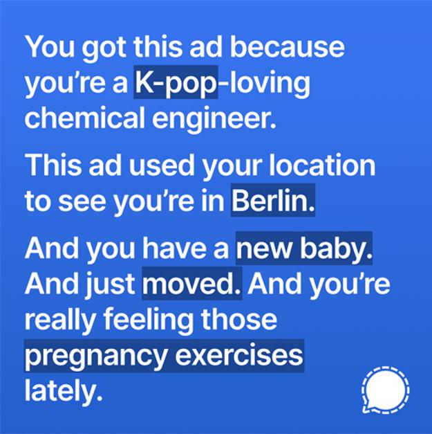 Príklad zakázanej reklamy aplikácie Signal na Instagrame.