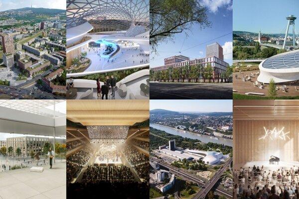 Vizualizácie kongresového centra, ktoré predstavili traja finalisti.