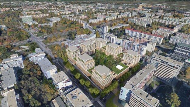 Vizualizácia projektu Nové centrum Ružinova.