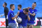 Slovenskí futbalisti na tréningu pred zápasom Slovensko - Španielsko na EURO 2020.