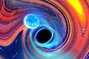 Umelecká predstava zlúčenia čiernej diery a neutrónovej hviezdy.