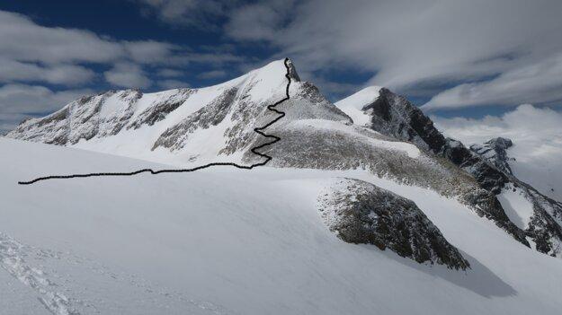 Približná trasa výstupu na vedľajší kopec.