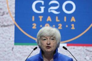 Americká ministerka financií Janet Yellenová na zasadnutí G20 v Benátkach.