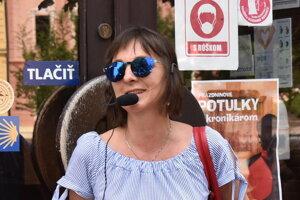 Andrea Sivaničová počas Objavovania Prešova.