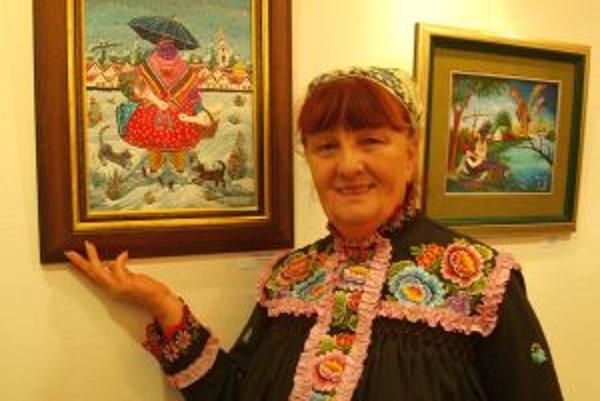 Zuzana Veresky so svojím obrazom.