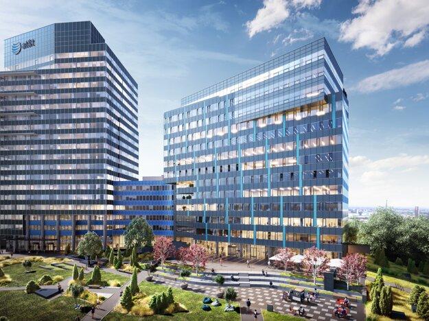 """M. Šmigura: """"Nemáme obavy o budúcnosť prenájmu kancelárskych priestorov. Napriek prvotnému nadšeniu je dnes jasné, že home office sa nestane novým normálom."""" (Vizualizácia: budúca podoba komplexu Lakeside Park)"""