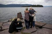 Spomienka na obete streľby na ostrove Utøya.