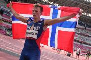 Nórsky atlét Karsten Warholm na OH v Tokiu 2020.