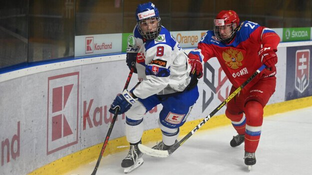 Momentka zo zápasu Slovensko U18 - Rusko U18 z finále Hlinka Gretzky Cup 2021.