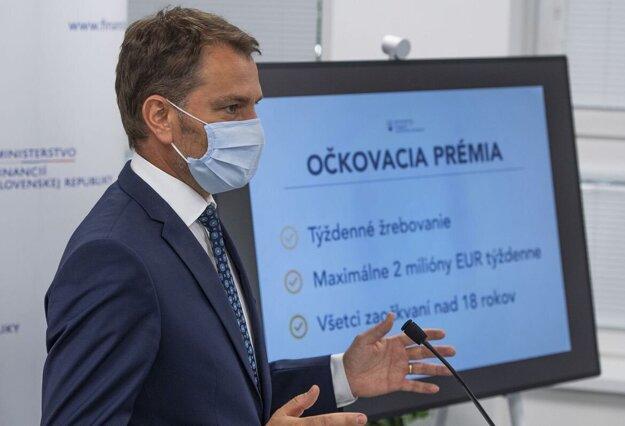 Minister financií Matovič pri predstavovaní lotérie.