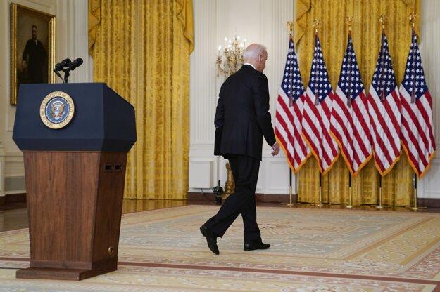 Americký prezident Joe Biden po prejave k národu v súvislosti so situáciou v Afganistane.
