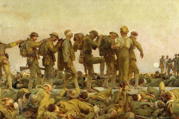 Oslepení plynom - monumentálny obraz amerického umelca Johna  Singera Sargeta zachytáva hrôzy prvej svetovej vojny.