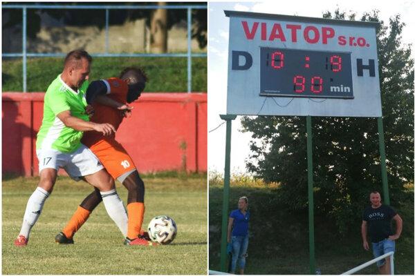 Tomáš Varhaník (v zelenom) strelil dva góly pri výhre vedúcej Jelky. Vpravo je výsledok zápasu Nový Život - Malá Mača.