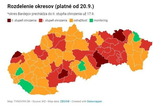 COVID mapa Slovenska od 20. septembra.