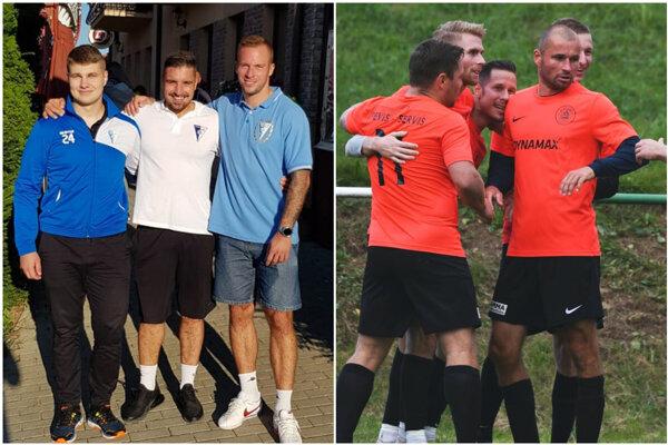 Na snímke vľavo strelci gólov za Veľké Zálužie proti Rišňovciam (5:0), vpravo radosť Alekšiniec v Jacovciach.