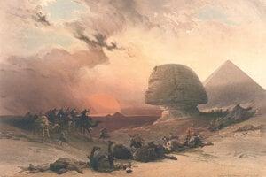 Púštna búrka pri Sfinge na farebnej litografii Louisa Hagheho podľa Davida Robertsa.