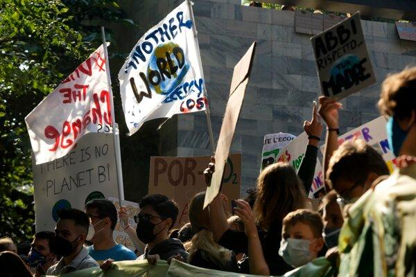 Klimatický protest v Taliansku.
