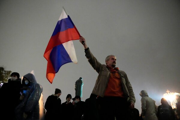 Protest proti výsledku parlamentných volieb v Rusku.