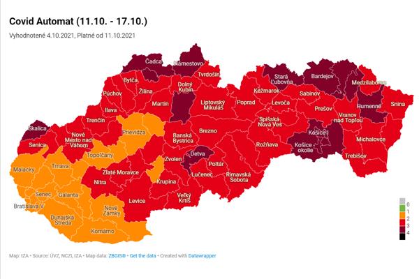 Mapa okresov od 11.10.