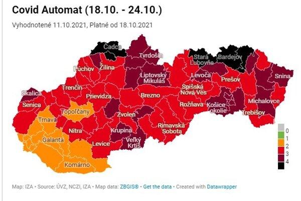COVID mapa, ktorá bude platná od 18. októbra.