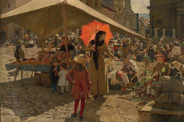 Dominik Skutecký: Trh v Banskej Bystrici (1889).