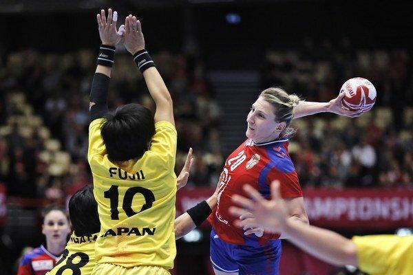 Srbka Tamara Georgijevová v zápase proti Japonsku na MS.
