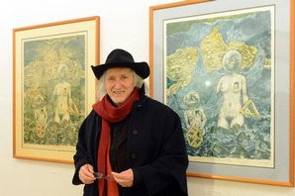 Juraj Jakubisko na svojej výstave v Múzeu Vojtecha Löfflera v Košiciach. Výstava potrvá do 12. apríla.