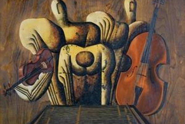 Rudolf Krivoš: Muzika, 1980, glej, preglejka (výrez). Z výstavy galandovcov v Mirbachovom paláci.