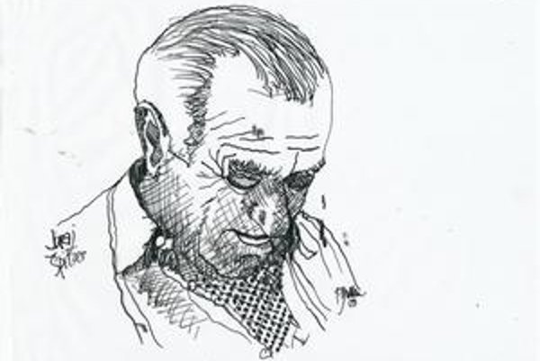 Portrét Juraja Špitzera od Fera Guldana, ktorého kresby tiež  ilustrujú monotematické číslo časopisu Kritika & Kontext.
