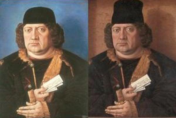 Vľavo falzifikát, vpravo originál anonymného portrétu Alexandra Mornauera.