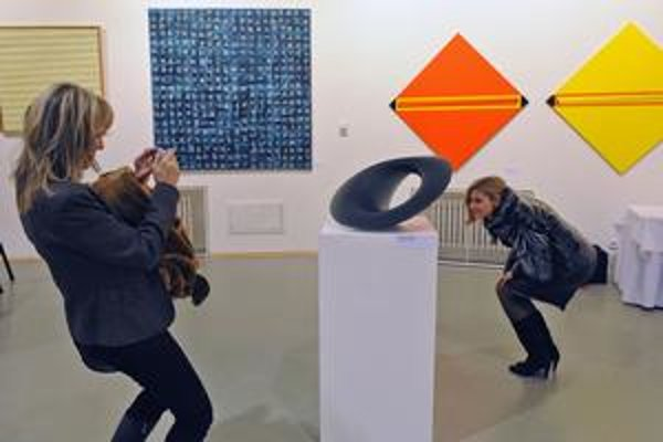 Na výstave Hranice geometrie v bratislavskom Dome umenia.