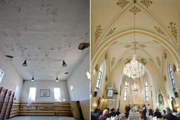 Na hornej snímke synagóga, na dolnej katolícky kostol v dedinke Bojná.