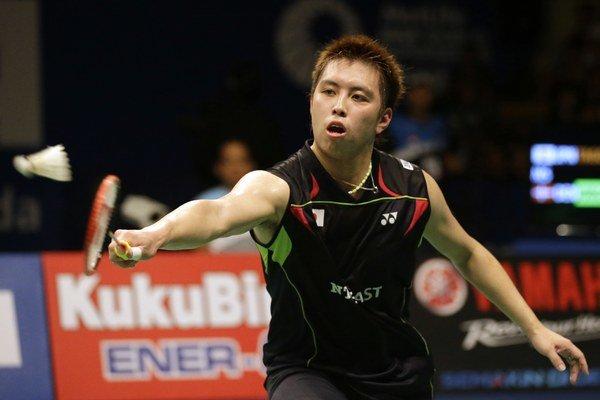 Japonský bedmintonista Keniči Tago počas Indonesia Open.