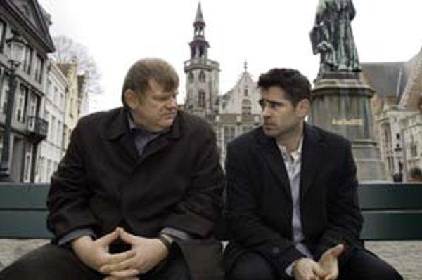 Colin Farrell a Brendan Gleeson V Bruggách.