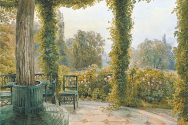 Joseph Höger (1801 - 1877): Výhľad zo záhradného pavilóna na Palác Rasumofských. 2. štvrtina 19. storočia.
