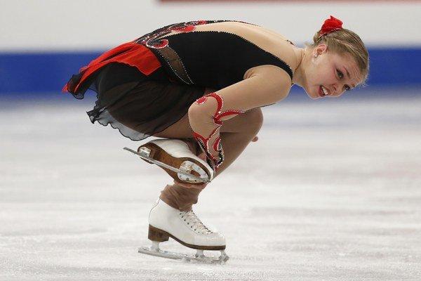 Nicole Rajičová počas voľnej jazdy na majstrovstvách Európy v krasokorčuľovaní v Budapešti.