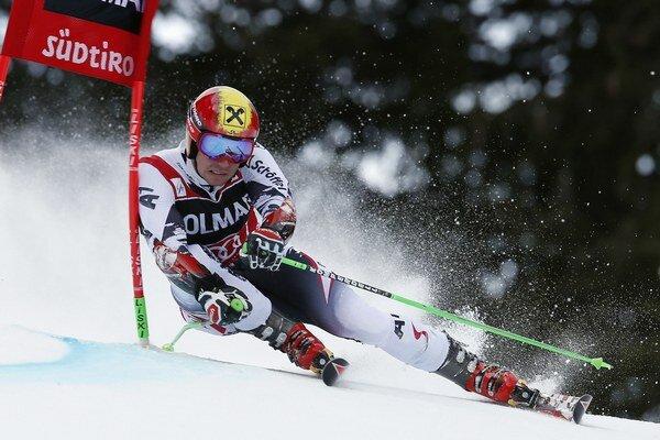 Marcel Hirscher pri obrovskom slalome v tsredisku Alta Badia.