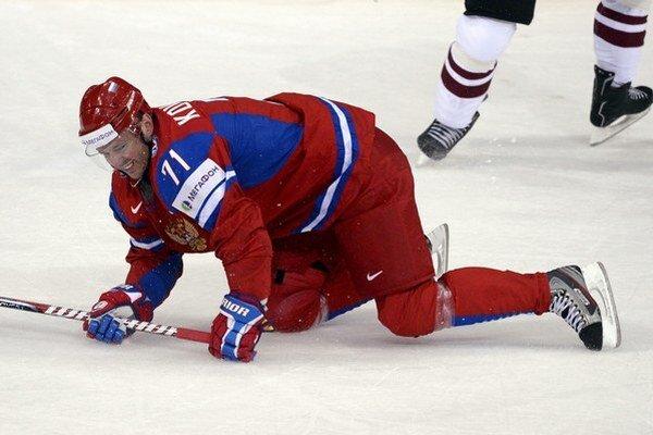 Útočník Iľja Kovaľčuk v drese ruskej reprezentácie.