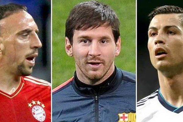 Ribéry, Messi a Ronaldo (zľava).