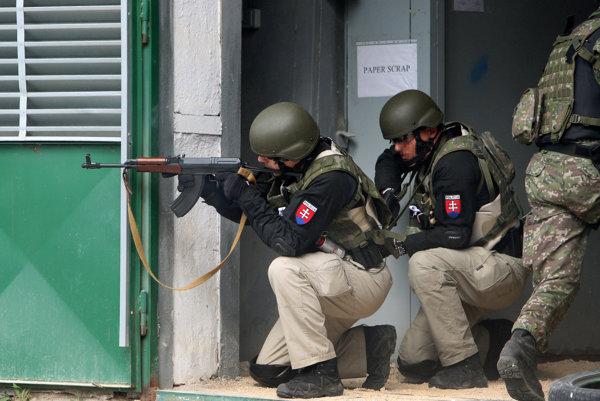 Na snímke evakuácia osoby po napadnutí počas medzinárodného a medzirezortného cvičenia Ochranca v areáli UB 300 vo výcvikovom centre Lešt.